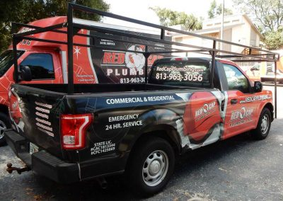 red cap plumbing truck service body and ladder rack